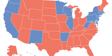 This map shows the most voted political party by us state in the past 20 presidential elections
