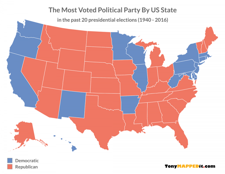 Us Map Based On Political Party 20 Maps Showing The Last 20 Presidential Election Results   Tony