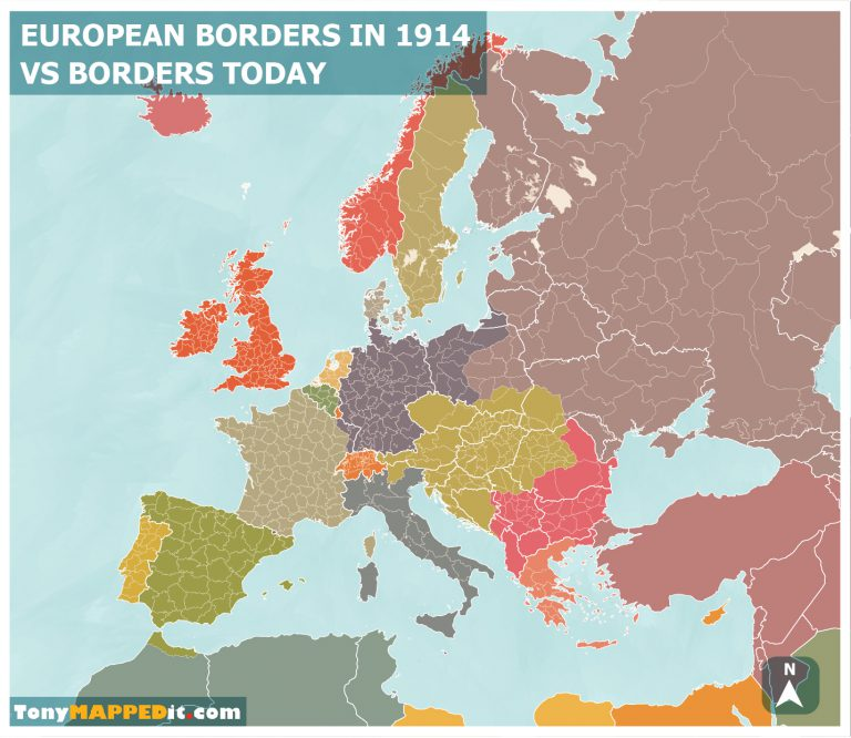 Map of Europe 1914 vs Borders Today