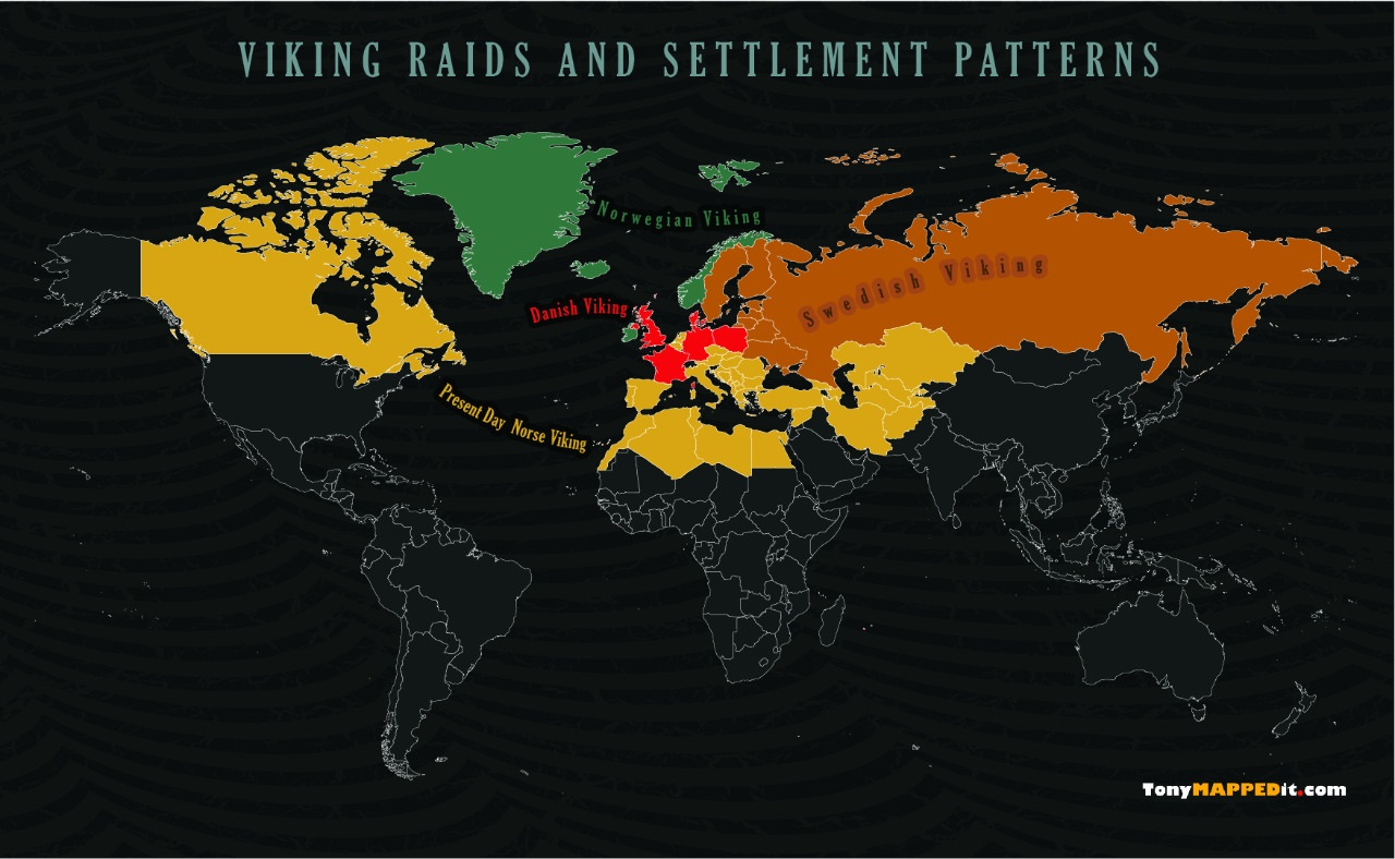 Viking Map Of The World Countries Raided Or Settled By The