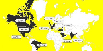 snapchat users by country map world