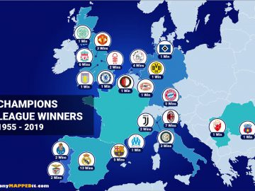 Map European Champions League Winners
