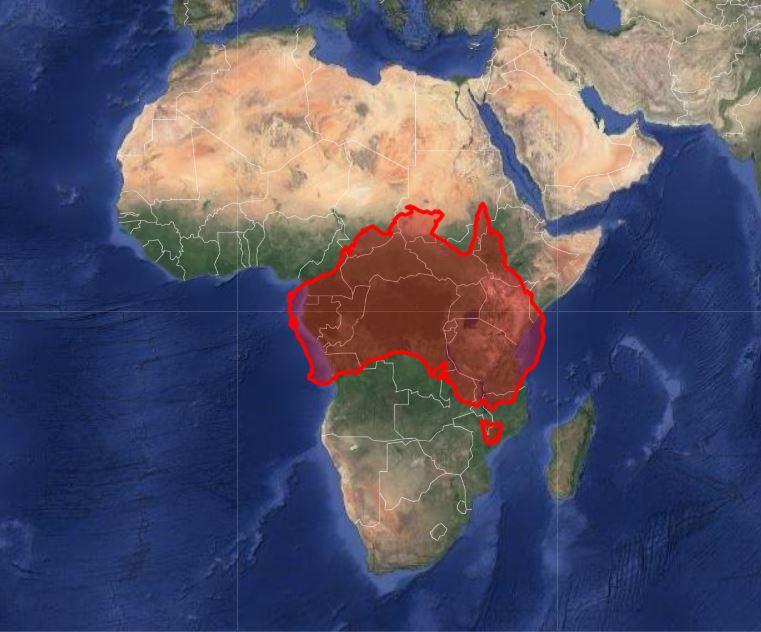 africa vs australia map