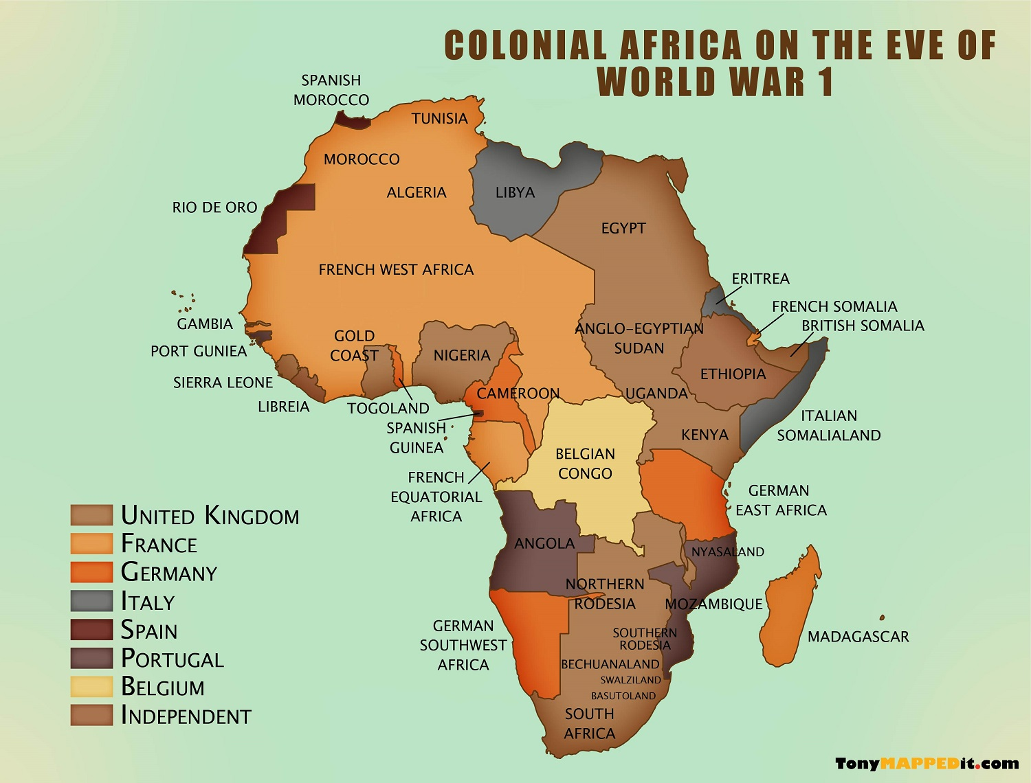 map of africa during colonization Map Of Colonized Africa In 1914 Tony Mapped It map of africa during colonization